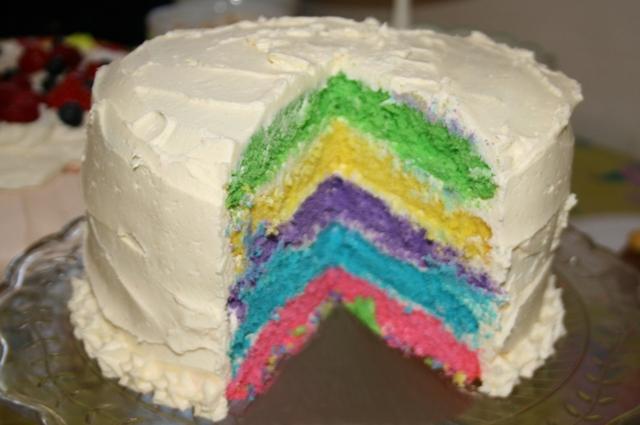 Rainbow layer cake | MummyPages.co.uk