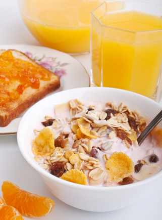 Crunchy honey granola with apricots and almonds