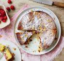 Almond polenta cake with raspberries