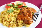 Sri Lankan curry with coconut sambal