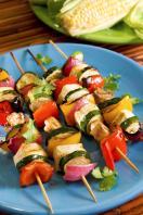 Griddled glazed vegetable kebabs