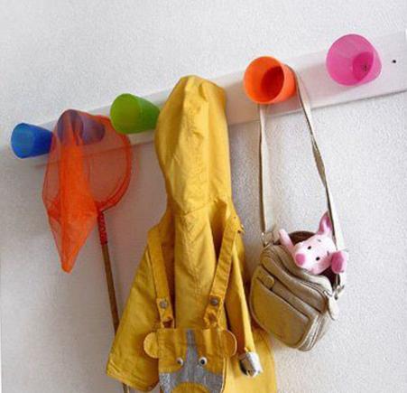 Plastic mugs make great coat racks