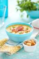 Pea and ham soup with crisped onions