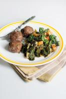 Beef meatballs with wilted kale and vegetables