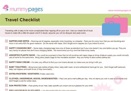 Travel checklist | MummyPages.MummyPages.uk