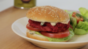Chickpea and beetroot burger