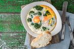 Baked eggs florentine