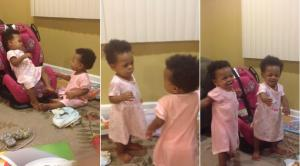 Twins have very high-pitched argument... but you'll never guess what they're fighting over