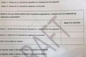 Citizens Assembly vote to replace or amend Irish abortion law