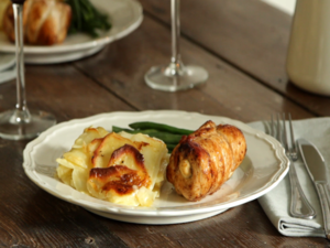 Chicken roulade and gratin dauphinois