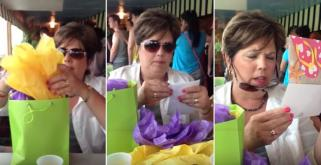 This mum thinks she is opening a thank you gift... but then she reads the card