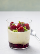 Panna cotta with raspberry jam & basil sugar