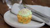 Ham and pea cupcakes