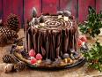 Woodland Christmas yule log cake