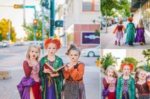 These three sisters are adorable as the Hocus Pocus witches for Halloween